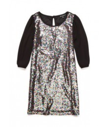 Sequin heart black multicolored sequin shift dress