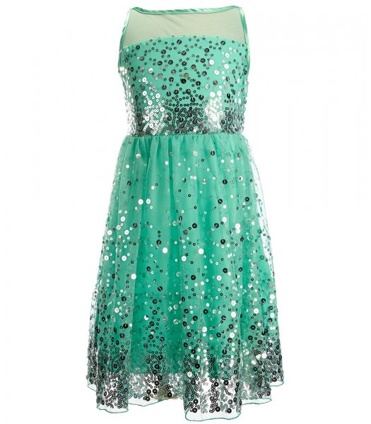 Crystal doll aqua-green sequin illusion girls dress