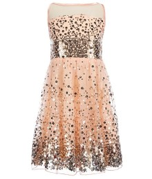 Crystal doll peach sequin illusion girls dress