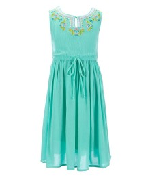 bonnie jean green embroidered gauze dress