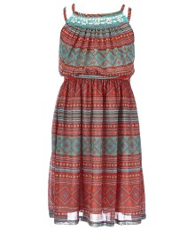 bonnie jean coral beaded spagh maxi dress Big Girl