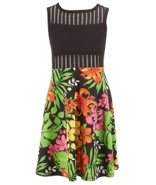 bonnie jean black/multi floral skirt dress