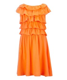 copper key orange ruffle bodice dress