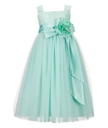 Chantilly place mint-green brocade ballerina girl dress