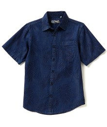 first wave blue denim tropical prin s/s shirt