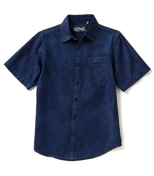 first wave blue denim tropical prin s/s shirt