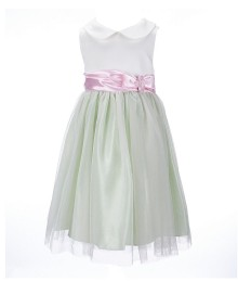 bonnie jean green/cream/pink satin bodice dress