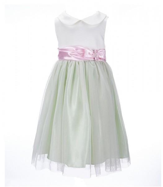 bonnie jean green/cream/pink satin bodice dress