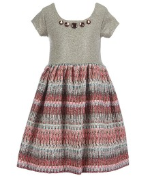 bonnie jean tan knit/foiled with multi color skirted dress