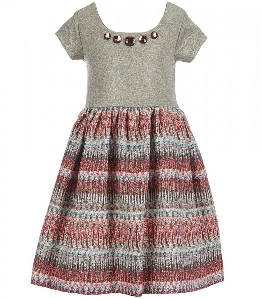 bonnie jean tan knit/foiled with multi color skirted dress Little Girl