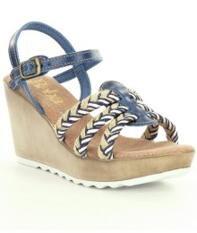 reba nude wt blue n white woven strap wedge sandals