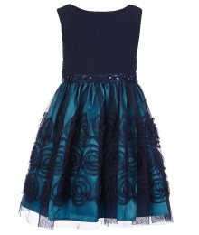 Sweet heart rose navy/turq rhinestone emb. taffeta dress
