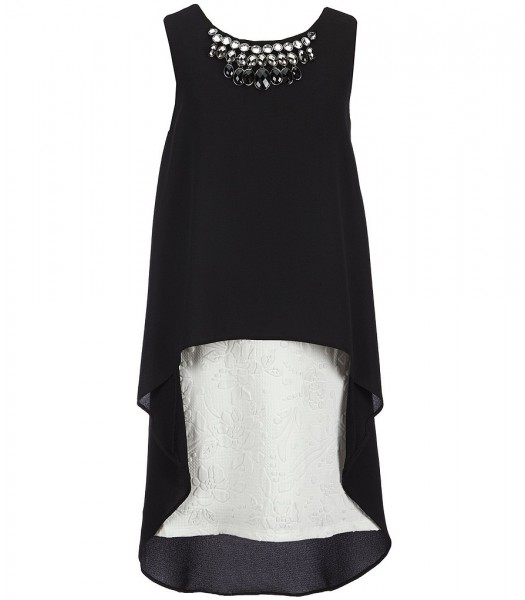 rare editions black chiffon beeded dress wt white textured underlay dress