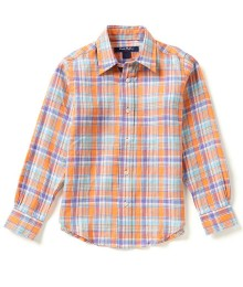 brooks brothers orange linen check l/s shirt