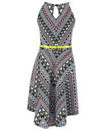 bonnie jean black/white print textur knitdress