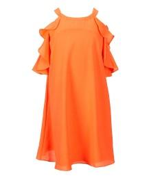 gb girls coral(dark) ruffle shift dress