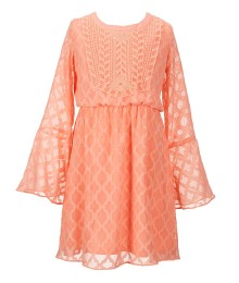 gb girls peach chiffon bell sleeve dress