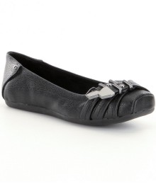 gb girls black faux-buckle flat shoes