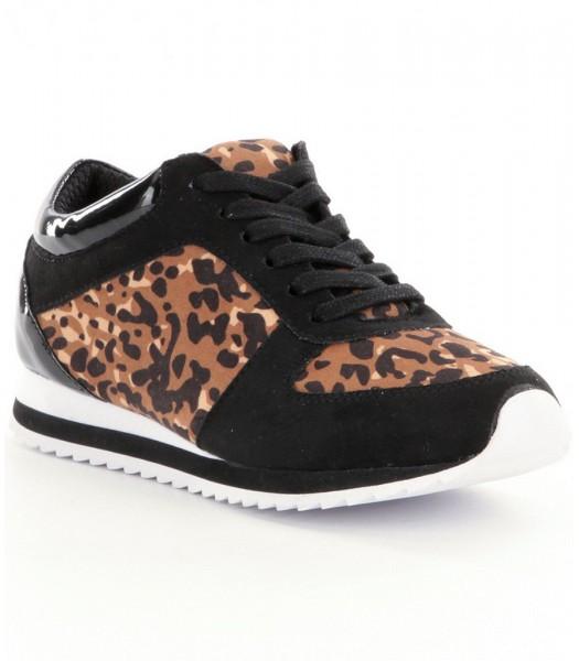 gb girls black wt animal print sneakers wt lace