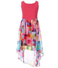 bloome pink/multi print chiffon high-low dress