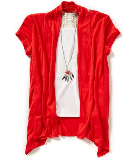 i.n 2pc pink crochet back vest wt tank n neck lace