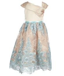 Chantilly place champagne/turq embroidered ennelope dress