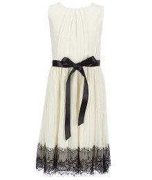 blush by angels cram chiffon dress wt black lace border hem