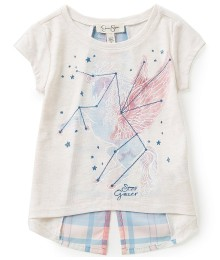 jessica simpson cream tee wt plaid back n slit wt stargazer print  Little Girl