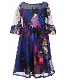 bonnie jean multi floral print mesh dress wt ruffle 3/4 sleeve