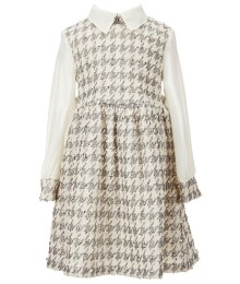 bonnie jean ivory/silver houndstooth dress wt chiffon l/sleeve