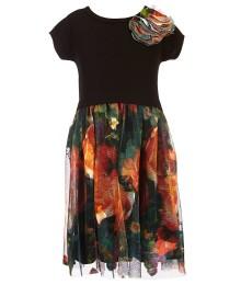 bonnie jean black knit  wt multi floral mesh skirted dress