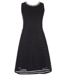 monteau girl black textured-stripe fit & flare dress wt jeweled neckline
