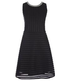monteau girl black textured-stripe fit & flare dress wt jeweled neckline