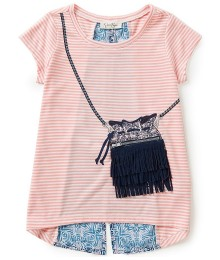 jessica simpson pink stripe top wt slinge bag print n fringes