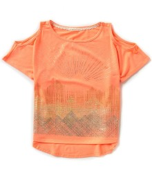 copper key coral cold shoulder top wt gold print