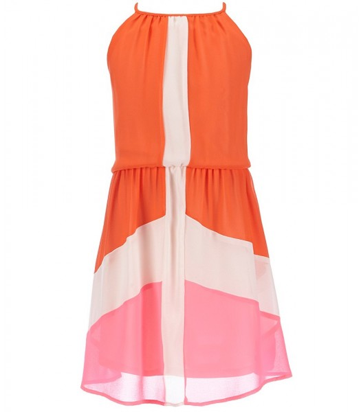 gb girls orange/tangerine color block dress