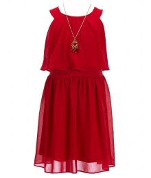i.n girls red popover dress wt necklace