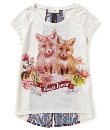jessica simpson cream gilrs tee wt back slit n wolf print - friends 4ever