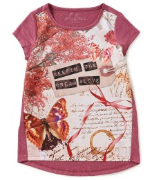 jessica simpson pink raspberry tee wt butterfly dreams print