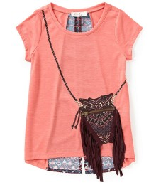 jessica simpson coral girls tee wt sling bag print n fringes
