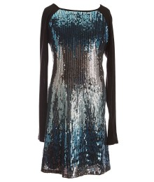 honey and rose black/turq sequin raglan l/sleeve dress