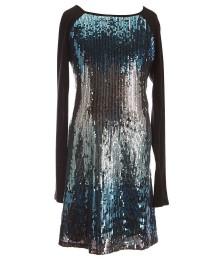 honey and rose black/turq sequin raglan l/sleeve dress