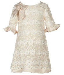 rare editions ivory flora lace shift dress wt rufffle sleeves