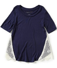 copper key navy lace detail top
