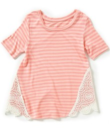 copper key pink lace detail top  Little Girl
