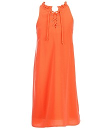 gb girls orange neon lace-up neck shift dress  Big Girl
