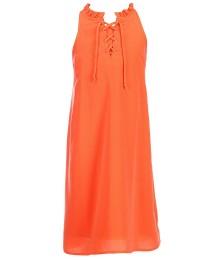 gb girls orange neon lace-up neck shift dress