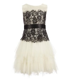 chantilly place ivory/black lace accented sleeveless dress