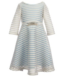 bonnie jean gold/sky blue foiled skater dress