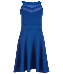 honey and rosie royal blue illusion cutout hi-neck skater dress